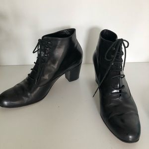 Varda (Italian made) black leather lace booties